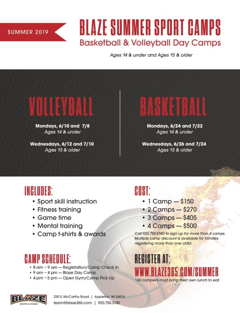 Blaze summer basketball volleyball camps
