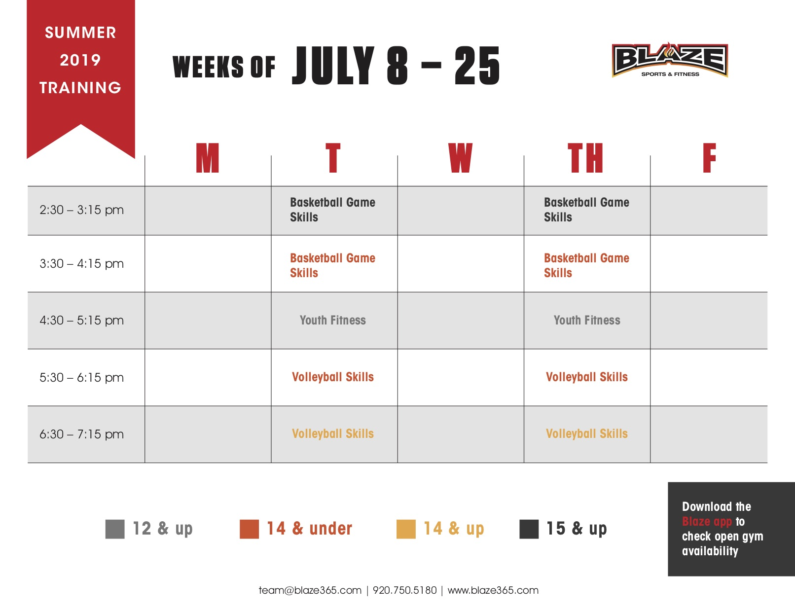 2019 Blaze Summer Training Schedule