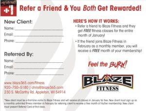 Blaze Fitness Plus One Referral Card