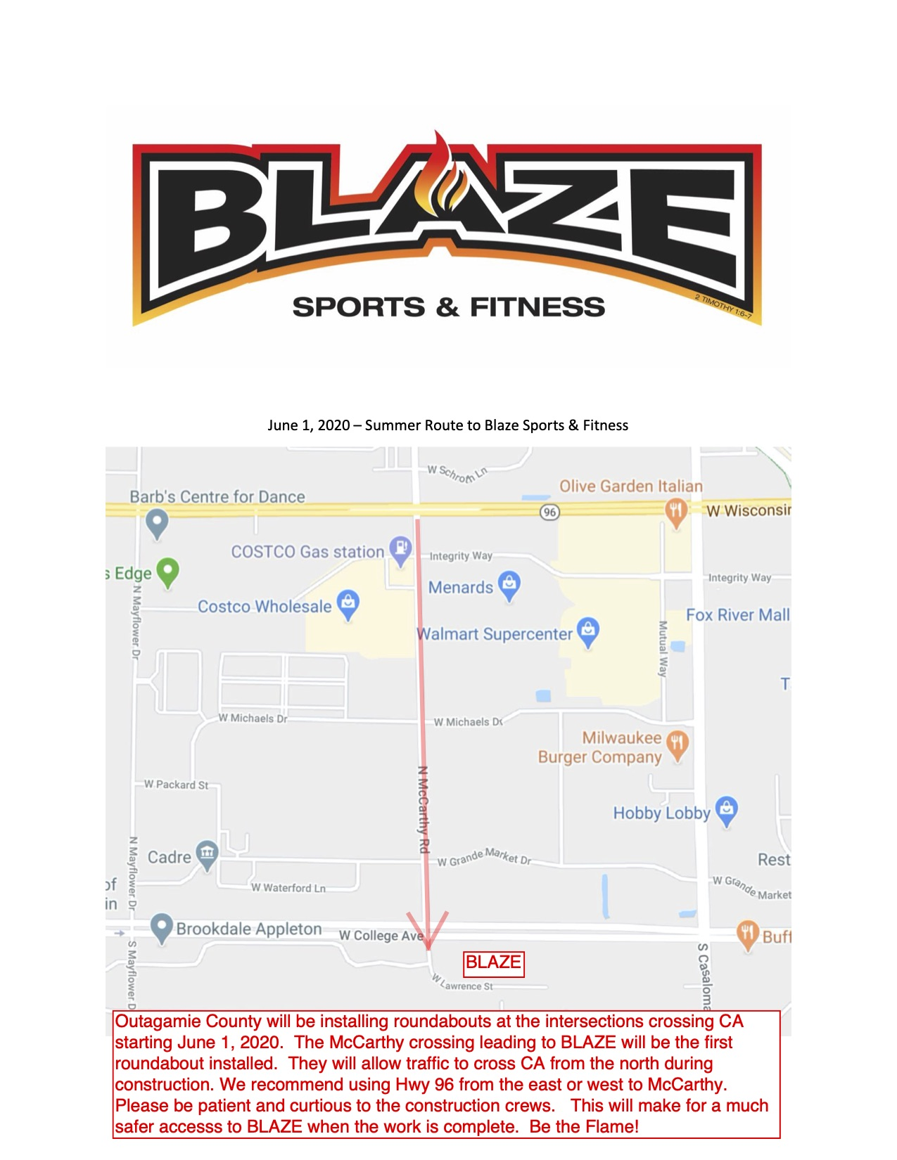 Blaze Road Construction Map